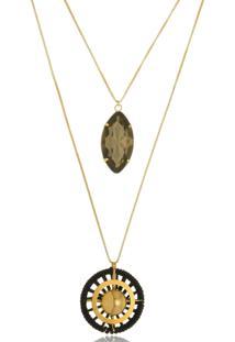 Colar Le Diamond Duplo Com Navete De Cristal Dourado - Kanui