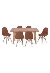 Conjunto Mesa De Jantar Em Madeira 150X80 Vértice + 6 Cadeiras Botonê - Marrom