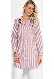 c046b3cb9b ... Camisa Lily Fashion Manga Longa Listrada Bordado Floral Feminina -  Feminino-Vermelho