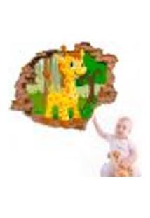 Adesivo De Parede Buraco Falso 3D Infantil Girafinha - Eg 100X122Cm