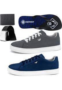 Kit Sapatenis Neway Sw Chumbo E Azul Com 1 Chinelo Neway, 1 Cinto E 1 Carteira