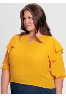 Blusa Amarela Com Babado Sobreposto Nos Ombros
