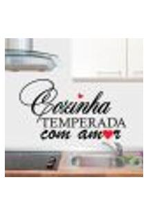 Adesivo De Parede Cozinha Temperada Com Amor - G 58X103Cm