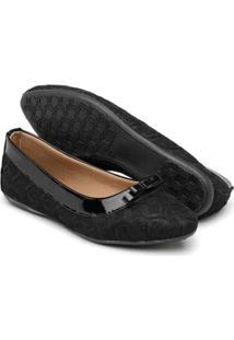 Sapatilha Gomes Shoes Renda Bico Fino Feminina - Feminino-Preto