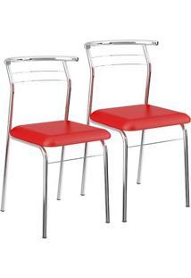 Cadeira 1708 Cromada 02 Unidades Napa/Vermelho Real Carraro