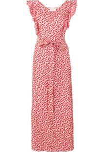 La Doublej Vestido De Seda Estampado - Rosa