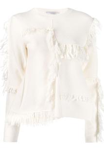 Stella Mccartney Suéter Assimétrico Com Franja - Branco