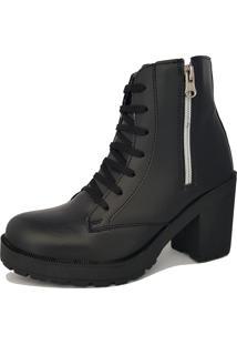 Bota Navit Shoes Tratorada Com Zíper Preto