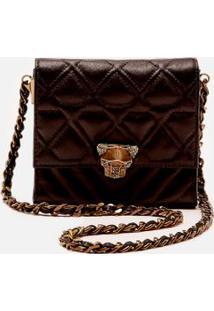 Bolsa Envelope Mini Leopardo Preto/ Ouro Velho - U