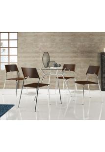 Mesa 1527 Com Vidro Incolor Cromada Com 4 Cadeiras 1711 Cacau Carraro