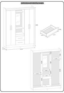 Guarda Roupa Casal Com Espelho 4 Portas 2 Gavetas Capelinha Light Atualle Móveis Branco Brilho