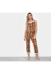 Pijama Flora Zuu Animal Print Cobra Feminino - Feminino-Onça