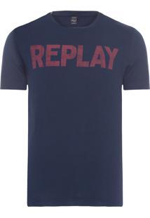 Camiseta Masculina Replay Basic - Azul