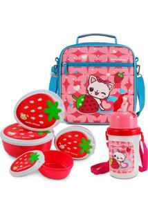 Kit Escolar Lancheira Necessaire Térmica + Kit Pote Lanches + Garrafa Squeeze Rosa