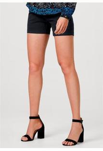 Shorts Hering Em Tecido De Algodão Com Detalhe De Martingale Feminino - Feminino-Azul Escuro