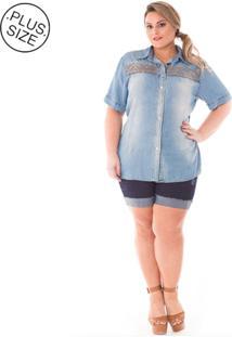 Camisa Jeans Plus Size - Confidencial Extra Bordada Azul