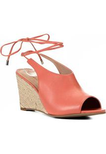 Sandália Anabela Shoestock Corda Couro Feminina - Feminino-Coral