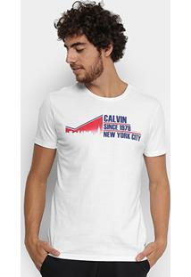 Camiseta Calvin Klein Slim Nyc 1978 Masculina - Masculino-Branco