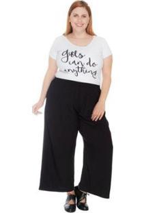 Calça Plus Size Pantacourt Maxi Feminina - Feminino-Preto