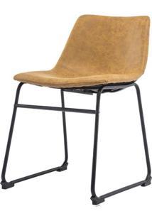 Cadeira Turtle Assento Courino Caramelo Com Base Aco Preto - 53184 Sun House