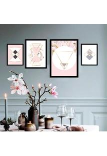Kit 4 Quadros Com Moldura Marble Modern Pink -