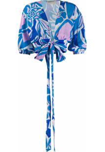 Emilio Pucci Blusa Com Estampa Abstrata - Azul