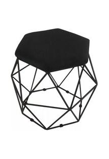 Puff Aramado Preto Assento Hexagonal Corino Preto - Ds Móveis