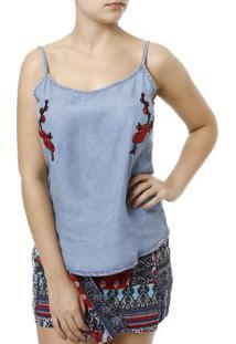 Blusa Regata Jeans Cativa Feminina - Feminino-Azul