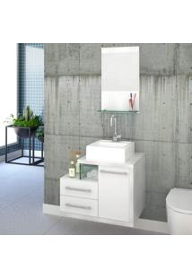 Gabinete Para Banheiro 1 Porta 2 Gavetas 1 Cuba Q35 E Espelheira Legno 651W Siena Móveis Branco/Branco Chess