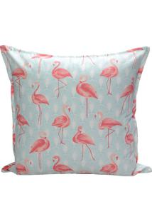 Capa Para Almofada Flamingos- Azul Claro & Coral- 45Decor Glass