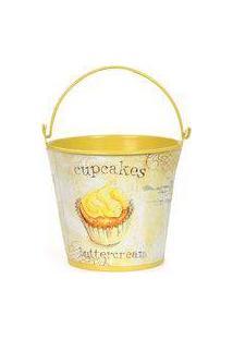 Cachepot De Metal Baldinho Pequeno Com Alça Amarelo Cupcakes Chantilly - 6 Unidades - Cromus