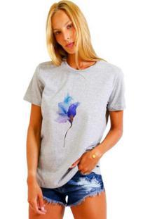 Camiseta Joss Feminina Rose Neon Cinza