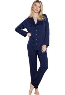 Pijama Inspirate Aberto Cetim Azul Marinho