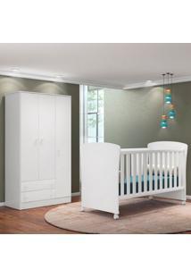 Quarto De Bebê Guarda Roupa Doce Sonho E Berço 2484 Branco - Qmovi