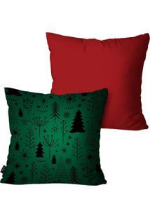 Kit Com 2 Capas Para Almofadas Pump Up Decorativas Pinheiros Verde 45X45Cm - Vermelho - Dafiti