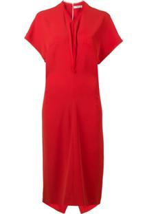 Poiret Vestido Gola V - Vermelho
