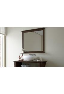 Espelheira Maior Em Madeira Para Banheiro Mission - Espelho Para Lavabo Cor Nogueira - 78X10X73Cm