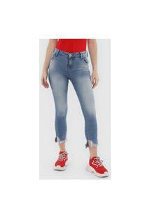 Calça Coca-Cola Jeans Skinny Cropped Destroyed Azul