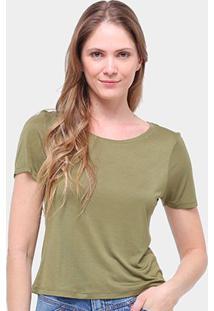 Blusa Cantão Basica Viscose Feminina - Feminino-Verde Escuro