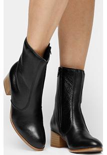 Bota Couro Cano Médio Shoestock Salto Bloco - Feminino-Preto