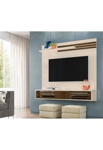 Painel Para Tv Até 55 Polegadas Frizz Sublime Off White E Savana