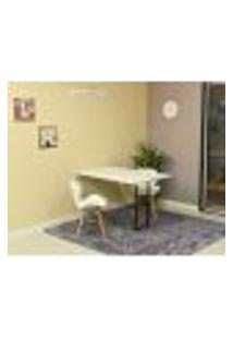 Conjunto De Mesa Dobrável Retrátil 120 X 75 Branca + 2 Cadeiras Slim - Branca