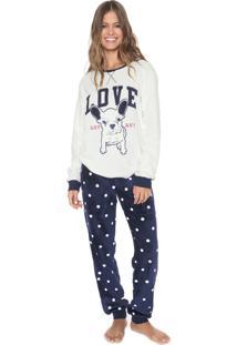 Pijama Any Any Bulldog Love Branco/Azul-Marinho