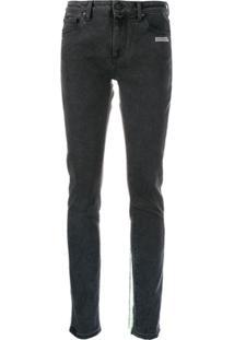 Off-White Calça Jeans Com Acabamento De Linhas - Cinza