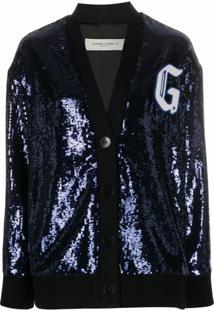 Golden Goose Cardigan De Lã Com Paetês - Azul