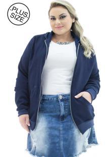 Jaqueta Feminina Jeans Com Capuz Plus Size
