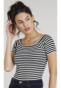 Blusa Feminina Básica Cropped Listrada Com Decote Ombro A Ombro Manga Curta Preta
