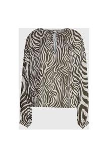 Blusa Lança Perfume Zebra Verde/Off-White