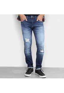 Calça Jeans Skinny Zune Estonada Masculina - Masculino-Azul