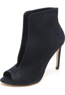 Ankle Boot Couro Capodarte Recorte Azul-Marinho